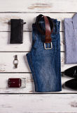 Men's clothing and accessories. Men's clothing and accessories of businessman. Business clothing Stock Photos