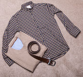 Men's clothing. Collage of modern men's clothing Stock Photos