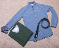 Men's clothing. Collage of modern men's clothing Stock Photography