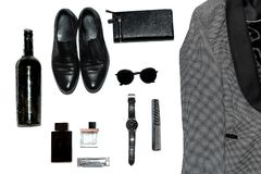Men`s fashion stuff on top royalty free stock photos