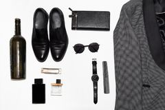 Men`s fashion stuff on top stock photo