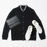 Men`s clothing set. Male black shirt and white sneakers Stock Photo
