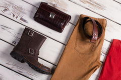 Men's clothing, shoes and accessories. Royalty Free Stock Images
