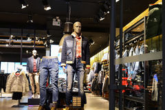 Mens clothing store. Interior view of  mens clothing store or fashion shop,Hongkong central,China,Asia Stock Photo