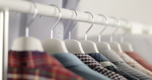 Men`s clothing store. stock video footage