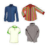 Men's Clothing. Stylish shirt. Warm sweater. Vector. Royalty Free Stock Images