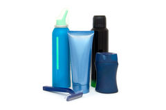 Men`s cosmetics. Objects and care products for men`s face and body Royalty Free Stock Photo