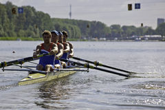 Men's Coxless four. Bosbaan, Amsterdam, the Netherlands - 22 July 2011: The Dutch Men's coxless four during the start of their repechage, finishing first, in Royalty Free Stock Image