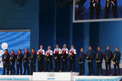 Men's curling medal ceremony Royalty Free Stock Image
