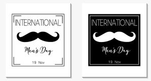 Men`s day cards. International men`s day vector black and white color banners royalty free illustration