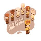 Men`s Day greeting card with cute chessman. stock illustration
