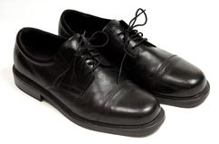 Men's Dress Shoes. A pair of black leather men's dress shoes Royalty Free Stock Photo