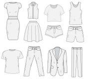 Men& x27; s e Women& x27; esboço ajustado da roupa de s Roupa, mão-desenho, estilo da garatuja Ilustração do vetor da roupa Imagens de Stock Royalty Free