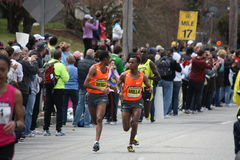 Men's elite pack at the Boston Marathon. April 20th 2009. Runners include: Deriba Merga (ETH), Daniel Rono (Ken), Solomon Molla (ETH Royalty Free Stock Images