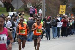 Men's elite pack at the Boston Marathon. April 20th 2009. Runners include: Deriba Merga (ETH), Daniel Rono (Ken), Solomon Molla (ETH Royalty Free Stock Image