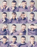 Men's emotions. Set of young man's portraits with different emotions Royalty Free Stock Photography