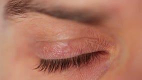 Men's eye closeup stock footage