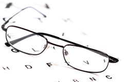 Men's eyeglasses over Snellen eye chart Stock Photography
