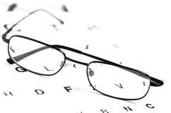 Men's eyeglasses over Snellen eye chart Stock Photography