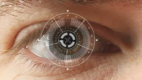 Men`s eyes with the futuristic software interface. Cyber-technology