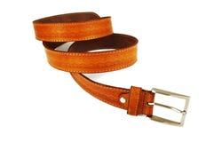 Men's fashion belt. On white royalty free stock photography