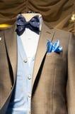 Men's fashion boutique window display. Fashion boutique window display - men's suit detail Stock Photography