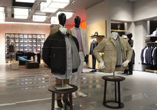 Men's fashion mall. Fashion store for men's clothing in the mall Stock Photography