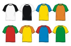 T-shirt Raglan Sleeve Templates. Men`s fashion T-Shirt Raglan Sleeve Templates, Vector Image Stock Image