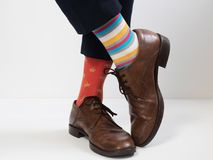 Free Men`s Feet In Stylish Shoes And Funny Socks Royalty Free Stock Photos - 108562828
