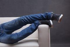 Men's feet overhanging Royalty Free Stock Photo