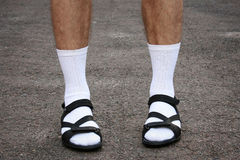 Men's feet in sandals Royalty Free Stock Images