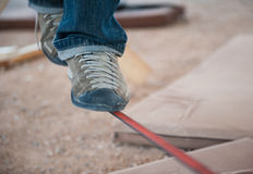 Men's feet in shoes on slackline Royalty Free Stock Photos