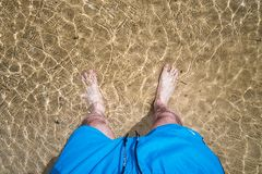 Men`s feet in the water royalty free stock photos