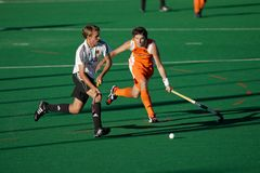 Men's field hockey action. Action during an international men's field hockey game between Germany and Netherlands, Bloemfontein, South Africa, 16 January 2010 Royalty Free Stock Images