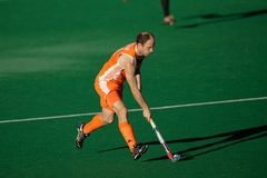 Men's field hockey action. Action during an international men's field hockey game between Germany and Netherlands, Bloemfontein, South Africa, 16 January 2010 Stock Photos