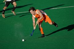 Men's field hockey action. Action during an international men's field hockey game between Germany and Netherlands, Bloemfontein, South Africa, 16 January 2010 Royalty Free Stock Photography