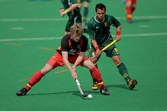 Men's field hockey action. Action during an international men's field hockey game between Germany and South Africa, Bloemfontein, South Africa, 14 March 2009 Royalty Free Stock Photos