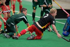 Men's field hockey action. Action during an international men's field hockey game between Germany and South Africa, Bloemfontein, South Africa, 14 March 2009 Royalty Free Stock Images