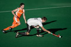 Men's field hockey action. Action during an international men's field hockey game between Germany and Netherlands, Bloemfontein, South Africa, 16 January 2010 Royalty Free Stock Photos