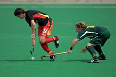 Men's field hockey action. Action during an international men's field hockey game between Germany and South Africa, Bloemfontein, South Africa, 14 March 2009 Stock Image