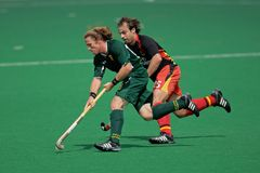Men's field hockey action. Action during an international men's field hockey game between Germany and South Africa, Bloemfontein, South Africa, 14 March 2009 Royalty Free Stock Photo