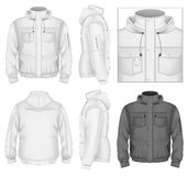 Men's flight jacket with hood stock illustration