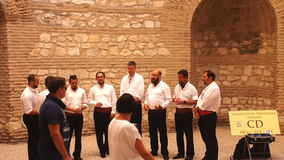 Men's Folklore Choir Signing Traditional Croatian Songs in Old Town Split stock video footage