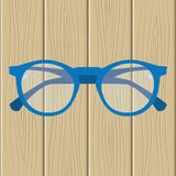 Men`s glasses on a wooden background. Vector illustration Stock Photography