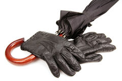 Men's gloves and a parasol. Stock Photography