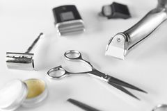 Men`s Grooming Tools. Barber Equipment And Supplies On White Stock Photo