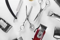 Men`s Grooming Tools. Barber Equipment And Supplies On White Royalty Free Stock Images