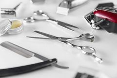 Men`s Grooming Tools. Barber Equipment And Supplies On White Royalty Free Stock Photography