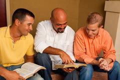 Men`s Group Bible Study. Multicultural small group. Royalty Free Stock Image