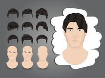 Men`s hairstyles. A set of men`s hairstyles brunette Stock Image